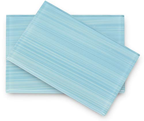 - Astoria Light Blue, Hand Painted Glass Tile. Perfect for Kitchens and bathrooms. Sample