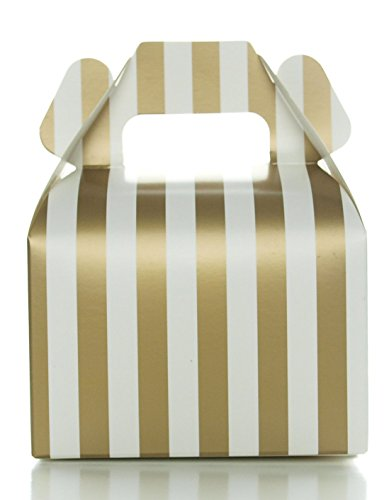 Favor Candy Boxes Small Gable Gift Boxes, Gold Stripe (12 Pack) - Treat Box Wedding Favor Boxes, Candy Box Party (Western Food Ideas)