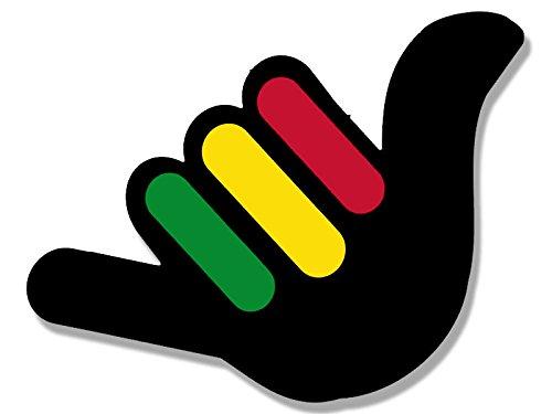 American Vinyl Hang Loose Hand Shaped with Rasta Stripes Sticker (Weed Pot Rastafari Reggae) -