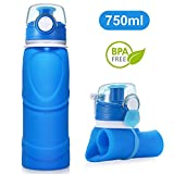 BlueFire Collapsible Silicone Water Bottle Foldable Silicone Drink Bottles with Leak Proof Valve - BPA Free for Travel Outdoor Sports Camping Cycling Canteen (26 OZ)