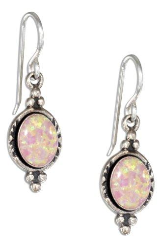 Sterling Silver Oval Synthetic Pink Opal Earrings on Shepherd Hooks