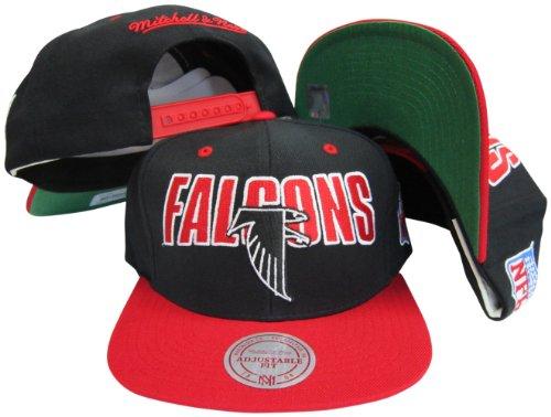 Atlanta Falcons Black/Red Two Tone Plastic Snapback Adjustable Plastic Snap Back Hat / - Snapbacks Vintage Deadstock