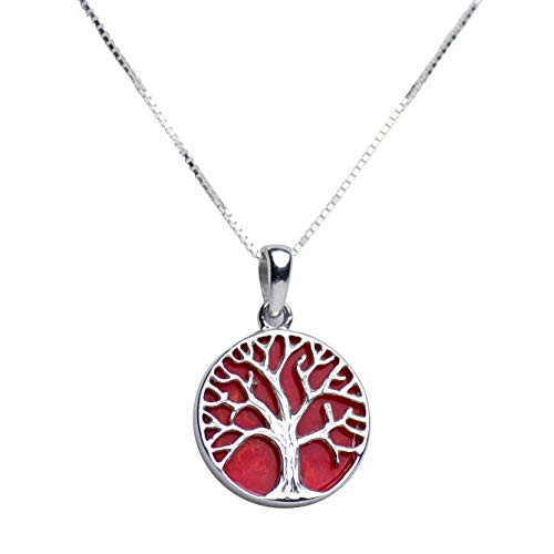 Rhodium Plated Sterling Silver Tree of Life Pendant Necklace with Created Red Coral Accent