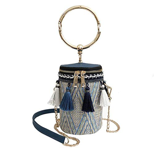 Hyuniture Women's Vintage Fringe Braided Tri-Color Bucket Bag Diagonal Bag Handbag Banquet Bag ()