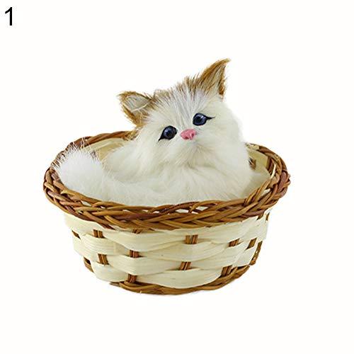 - Ameesi Simulation Mini Basket Animal Toy Lovely Doll Plush Cat Rabbit Dog Kids Party Xmas Birthday Gift Cat