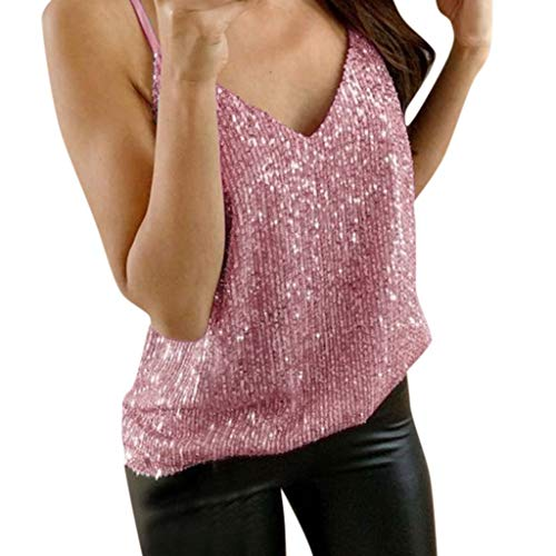 Aunimeifly Women's V-Neck Sling Sequined Vest Ladies Sexy Loose Large Size Glitter Strappy Tank Tops Camisole Pink