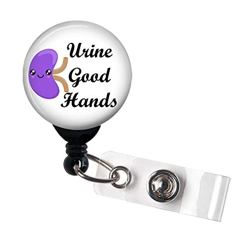 (Urine Good Hands Kidney Kawaii - Retractable Badge Reel with Swivel Clip and Extra-Long 34 inch Cord - Badge Holder/Nephrology/Nephrologist)