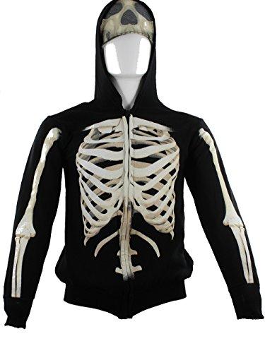 Extreme Concepts Boys' Hoodies Skeleton Cotton Zip Sweatshirt - XS