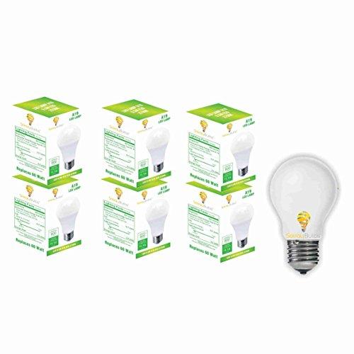 Solray 6 Pack of LED A19 - 60 Watt Equivalent Soft White (2700K) Frosted Light Bulb 800 Lumens