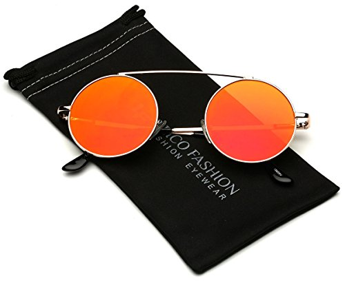 Bridgeless Circle Frame Flat Lens Fashion Sunglasses (M-L - Heads Sunglasses For Big Cheap