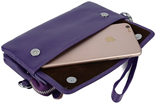 Women's Card Crossbody Blocking Smartphone Leather with Yaluxe Purple Clutch RFID Wristlet Slots 6fzdwn