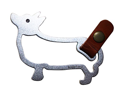- Desk+1 Stainless Steel Royal Corgi Large Keychain Metal Artwork w/ Tannin Genuine Leather, 3.4