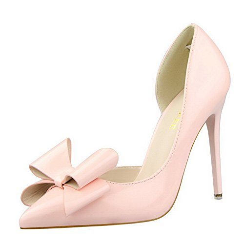 Amoonyfashion Kvinna Pu Pekade-toe Kick-häl Fast Pådrag Pumpar-shoes Rosa