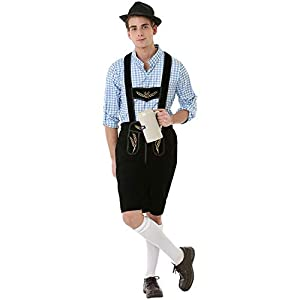 Boisterous Bavarian Men's Halloween Costume German Oktoberfest Beer Lederhosen, Blue, Large