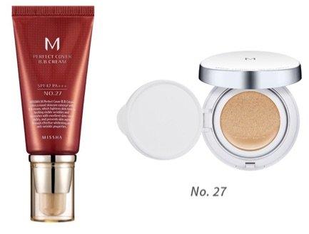 MISSHA M Perfect Cover BB Cream SPF 42 PA+++ (#27 Honey Beige) Bundle with M Magic Cushion SPF50+/PA+++ (No.27) (Missha Beige Honey)