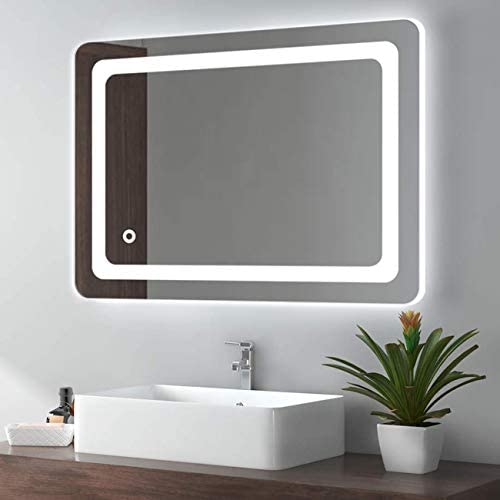 Cozy Castle Bathroom Mirror with LED Lights Lighted Makeup Vanity Mirror Wall Mounted Backlit Frameless Large Size 32×24 inch Rectangular, Memory Touch, Horizontal Vertical, Warm White Daylight Lights