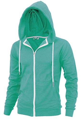 Delight Men's Fashion Fit Full-Zip Hoodie With Inner Cell Phone Pocket (US Large, Aqua) - Mens Cell Phone Pocket