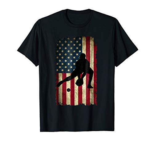 Infielder Glove American Flag Baseball T-Shirt Baseballin