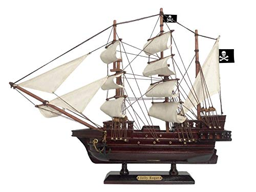 Hampton Nautical Wooden Captain Hook's Jolly Roger White Sails Pirate Ship Model 15
