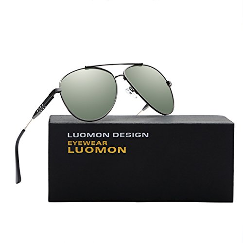 LUOMON LM1573 Grey Frame/G-15 Lens Polarized Oversized Aviator - G Polarized 15