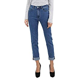 Women's Curvy-Fit Boyfriend Jeans Modern High Waist Mom Stretchy Denim Pants