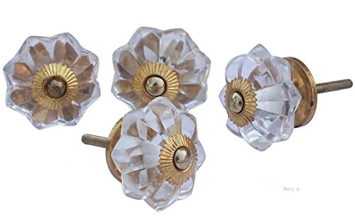 LABOR DAY SALE - abhandicrafts - Set of 4 Glass Door Knobs- Interior Round Knobs and Pulls for Drawer Hardware Attached (Transparent)