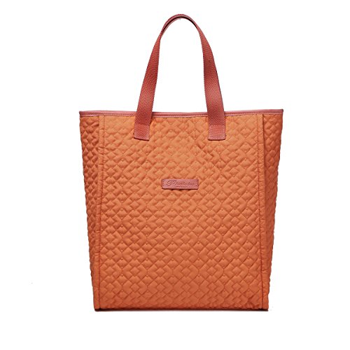 New Shopper Tote - Women's Large Capacity Tote Bag with Embroidery Craft,Lightweight Polyester Fabric Shopper Bag for Daily Use(Orange)