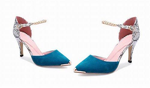 Colore Punta Ccallp012880 Fibbia Alto Donna Sandali Azzurro Chiusa Tacco Voguezone009 Assortito 5zn4qwY
