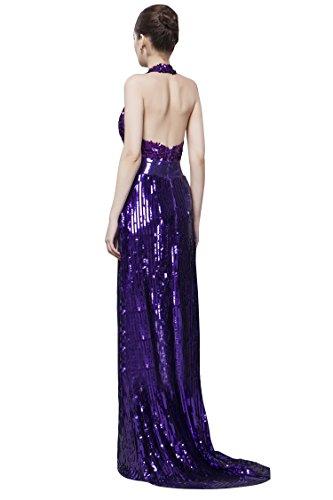 Sweep Rückenfrei Emily Beauty Pailletten Violett Brautkleid Tailing Neckholder SxwRqxWFUO