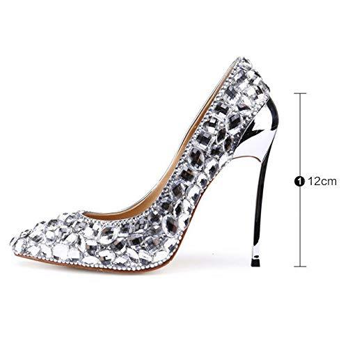 Silber Spitz Prom Pumps Party High Hochzeit Frauen Damen Braut Heels Schuhe Kleid Stilett Kristall Abend dOq7xw8RE