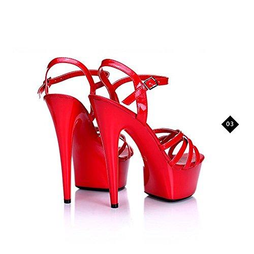 SYYAN Damen Sommer Leder wasserdicht Mode Alle Spiel Gürtelschnalle Ultrafein Hohe Sandalen mit Absatz , red , 39