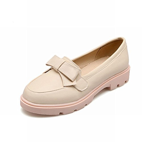 Carolbar Mujeres Adorable Bows Elegance Sweet Cuff Casual Barbie Style Fashion Loafer Flats Beige