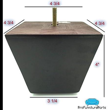 "ProFurnitureParts 4"" Inch Espresso Dark Finish Square Tapered Pyramid Wood Sofa Legs Set of 4"