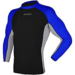 DRSKIN UV Sun Protection Long Sleeve Top Shirts Skins Tee Rash Guard Compression Base Layer UPF 50+ (Rash MA B-G-BU03, XL)