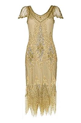 gatsbylady london Annette Vintage Inspired Fringe Flapper Dress in Antique Gold