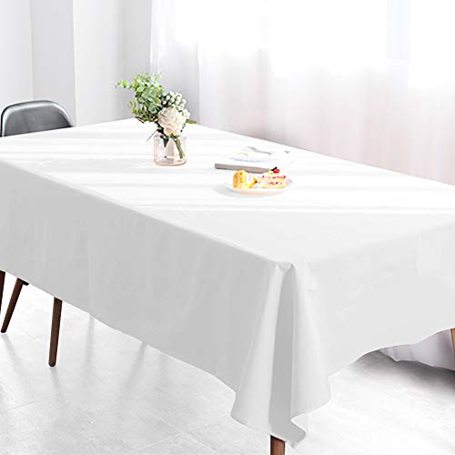 Wimaha White Rectangular Tablecloth for Rectangle Table, 100% Polyester, Machine Washable Fast Dry, Ideal for Kitchen Party Picnic Wedding Holiday, 52 x -