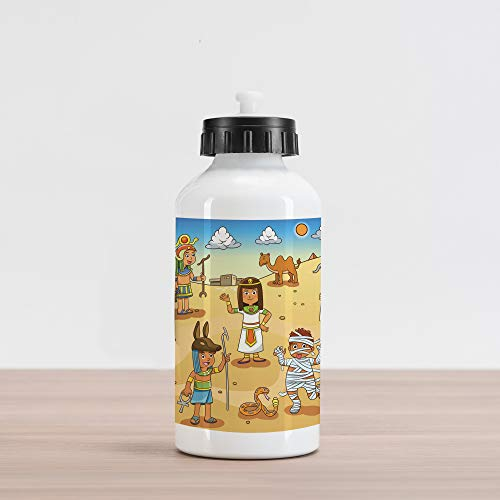 Water Pyramid Bottle - Ambesonne Cartoon Aluminum Water Bottle, Historical Egypt Characters with Pyramids Cleopatra King Mummy Child Design Image, Aluminum Insulated Spill-Proof Travel Sports Water Bottle, Multicolor