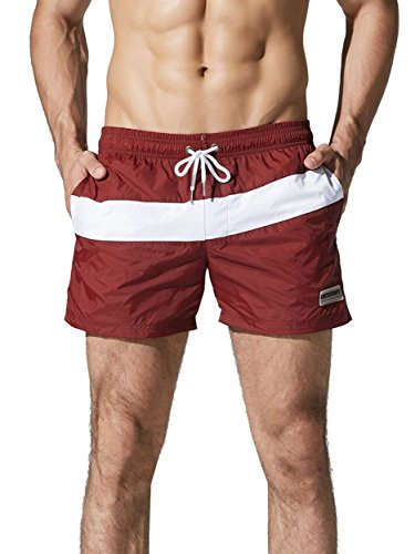 Neleus Dry Fit Beach Swim Trunk Running Joggers Shorts with Pockets,710,Burgundy & Red,S,Tag L by Neleus