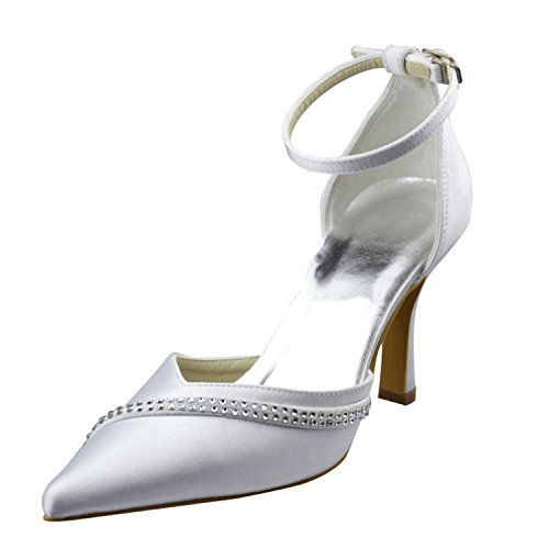 Kevin Fashion mz1261Ladies Pointed Toe lacw novia boda formal fiesta noche Prom zapatos de bombas, color Beige, talla 43 EU