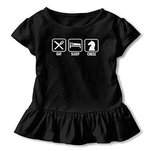 Lookjufjiii80 Toddler Girl Eat Sleep Chess Short Sleeve Dress Ruffle Top T-Shirt Black -