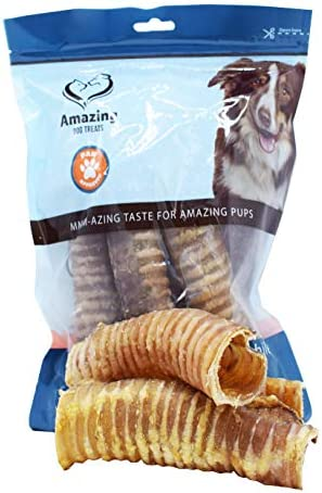 Amazing Dog Treats Beef Trachea – 6 inch and 12 inch – Premium Trachea Dog Chews – Excellent Source of Glucosamine and Chondroitin for Joint Health – 100 Beef Chew – Yummy Moo Tube Dog Treats