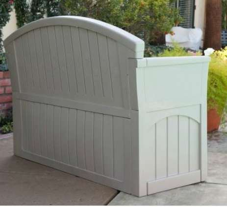 Outdoor Storage Bench, Patio - 50 Gal., Resin, Light Taupe by Premium (Image #2)
