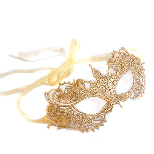 Samantha Peach Masquerade Mask - Authentic Luxury Lace Goddess Women's Masquerade Ball Mask in Gorgeous Gold - Perfect for Prom, Costume Parties and Masquerade Events - Handpainted and Handtied -