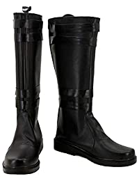 GOTEDDY Ren Cosplay Knee High Boots Black Leather Shoes Costume Accessories