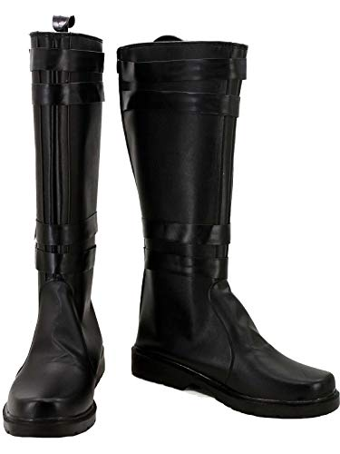 GOTEDDY Ren Cosplay Knee High Boots Black Leather