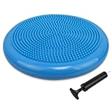 Trideer Air Stability Wobble Cushion with Free Pump, 34cm Extra Thick Core Balance Disc, KIDS Wiggle Seat, Great for Improving Core Strength & Relieving Back Pain (34cm Blue)