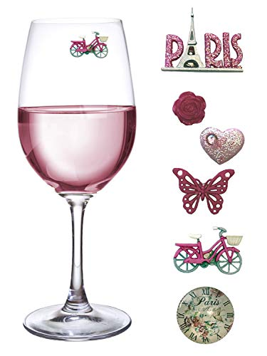 To Paris with Love Magnetic Wine Glass Charms Set of 6 - Fun Gift by Simply Charmed - Paris Wine Glass
