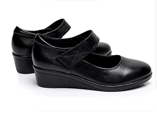 Suave La Cuero de de La de Negro o Mediana Plana Final Edad Oto Zapatos Y el Primavera Madre XZGC Zapatos Tnwqvav