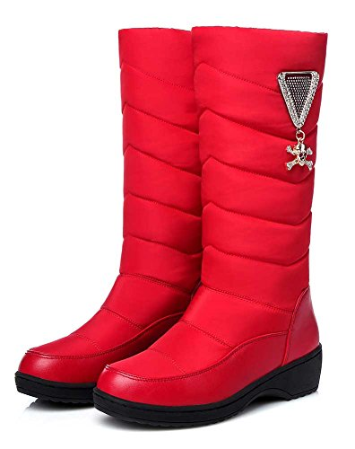 Lined Fully Fashion CHFSO Warm Mid Snow Winter Mid Waterproof Platform Boots Pendant Red Calf Womens Heel qRIXxIwn4