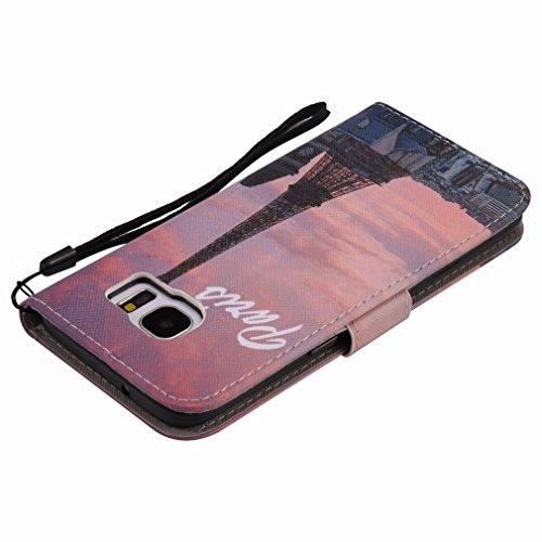 Yiizy Samsung Galaxy S7 Edge G935 Funda, Torre Eiffel Diseño Solapa Flip Billetera Carcasa Tapa Estuches Premium PU Cuero Cover Cáscara Bumper Protector Slim Piel Shell Case Stand Ranura para Tarjetas